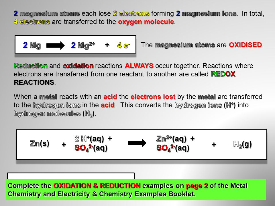 + + + + Complete the OXIDATION & REDUCTION examples on page 2 of the Metal Chemistry and Electricity & Chemistry Examples Booklet.