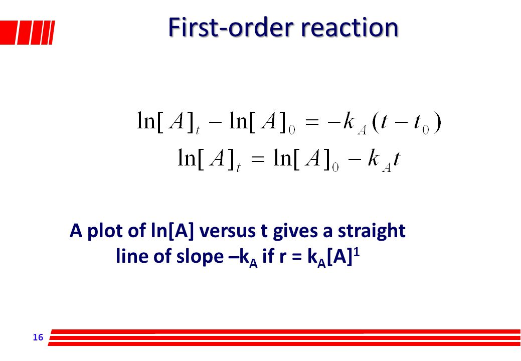 16 First-order reaction A plot of ln[A] versus t gives a straight line of slope ̶ k A if r = k A [A] 1