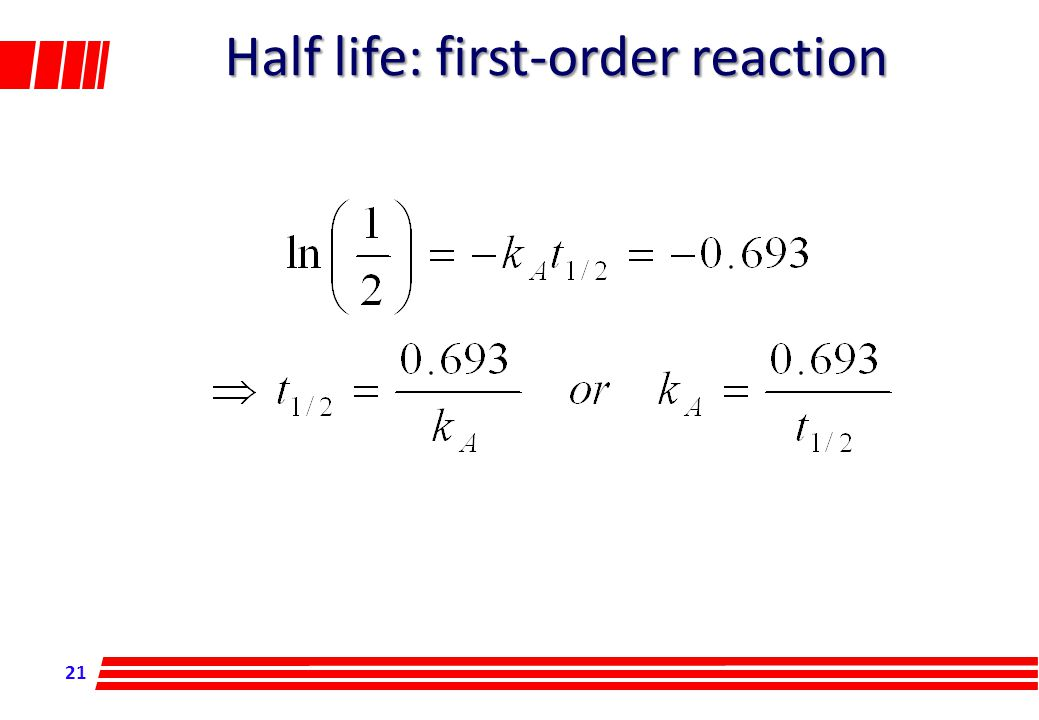 21 Half life: first-order reaction