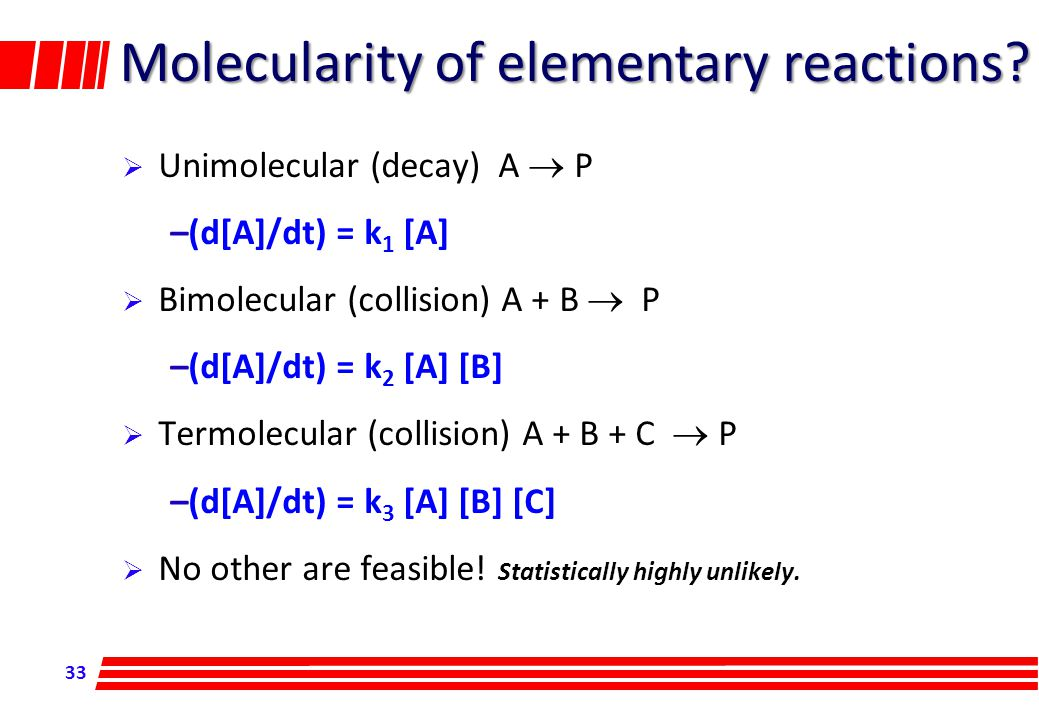 33 Molecularity of elementary reactions.
