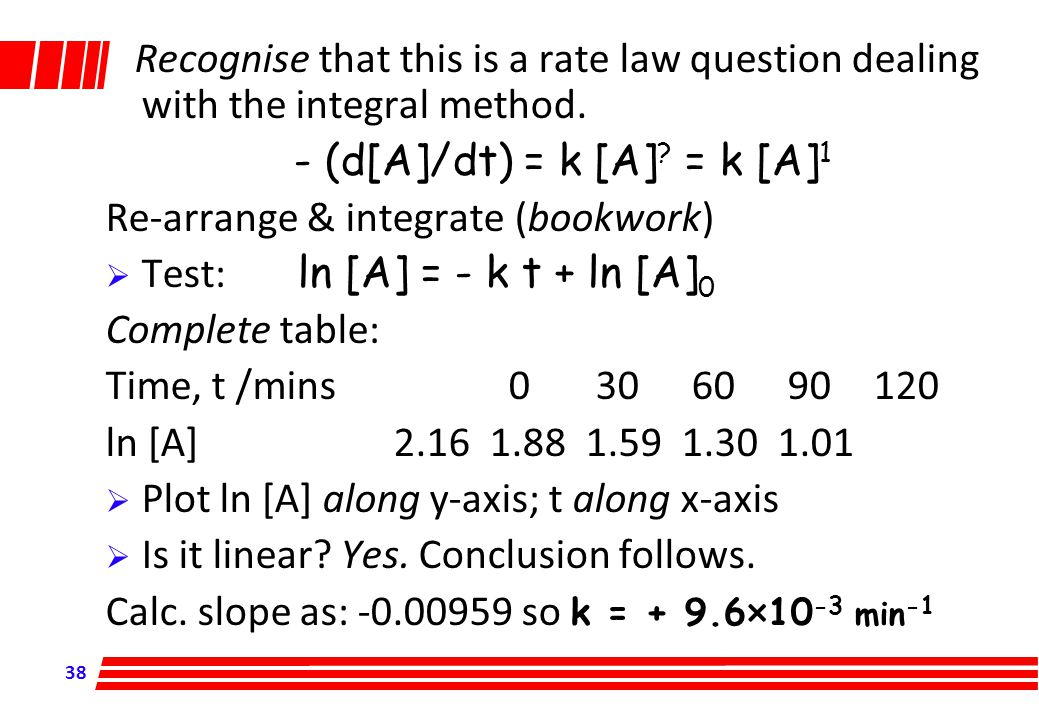 Recognise that this is a rate law question dealing with the integral method.