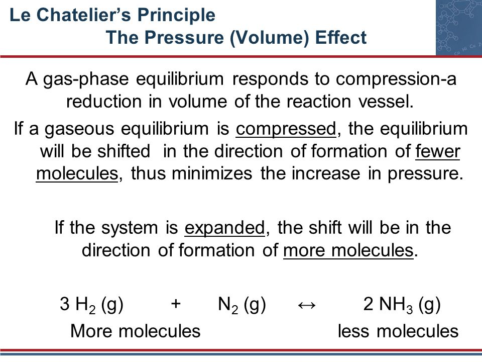 Le Chatelier's Principle The Pressure (Volume) Effect A gas-phase equilibrium responds to compression-a reduction in volume of the reaction vessel.