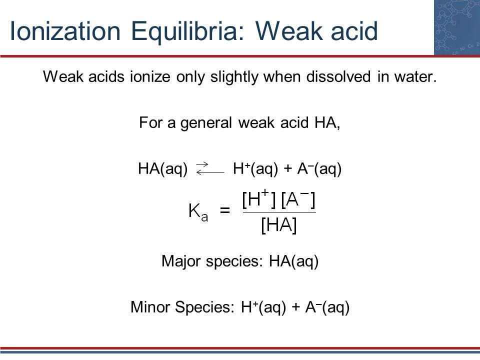 Ionization Equilibria: Weak acid Weak acids ionize only slightly when dissolved in water.