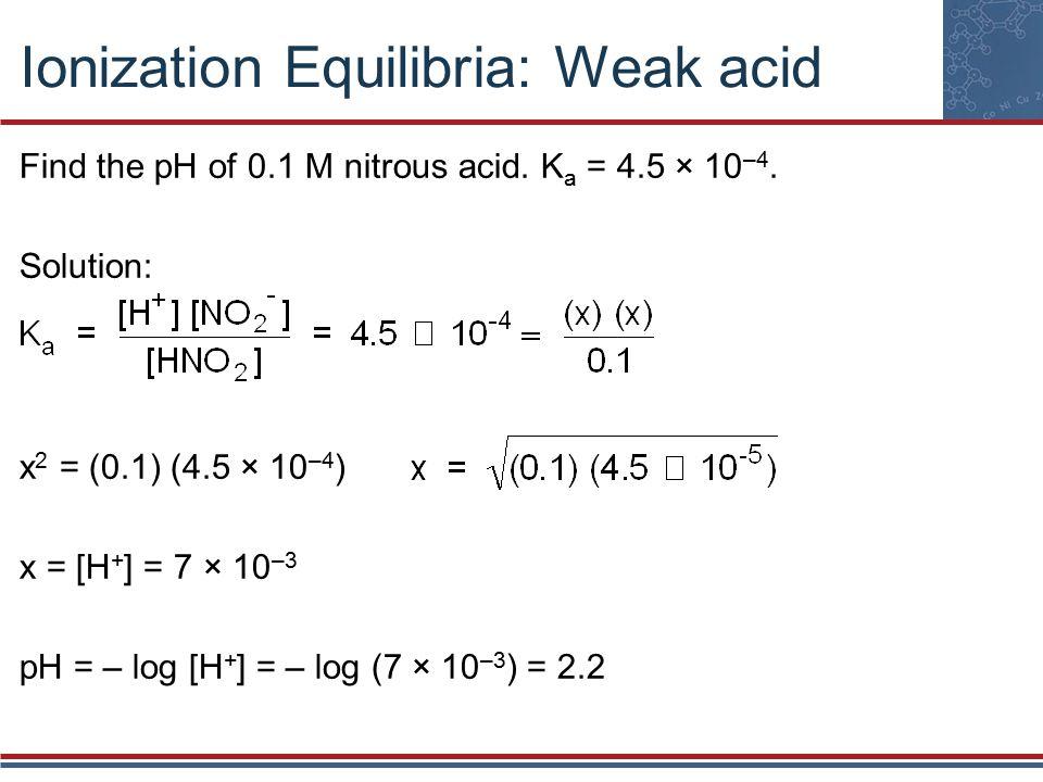 Ionization Equilibria: Weak acid Find the pH of 0.1 M nitrous acid.