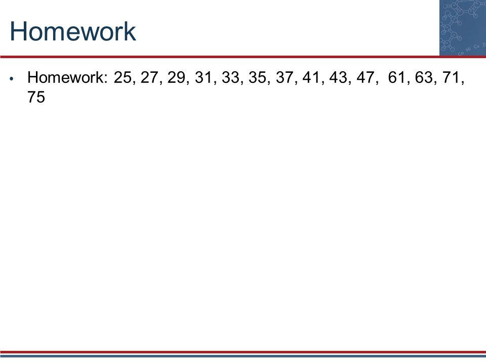 Homework Homework: 25, 27, 29, 31, 33, 35, 37, 41, 43, 47, 61, 63, 71, 75