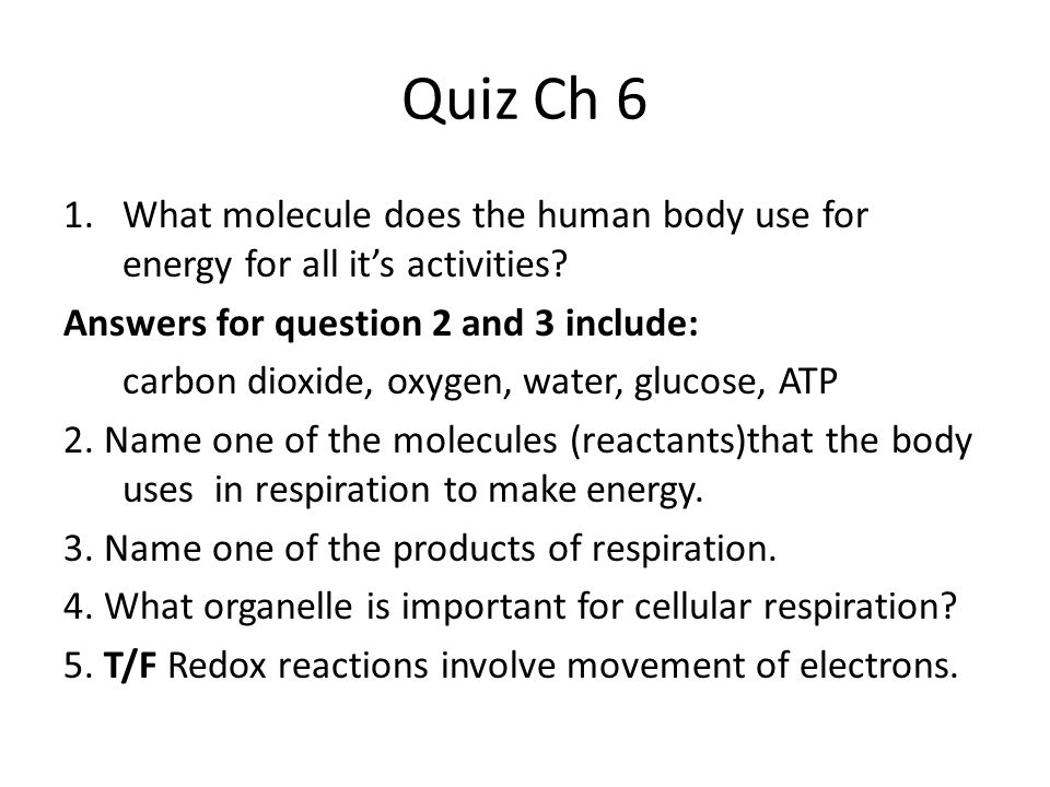 Quiz Ch 6 1.What molecule does the human body use for energy for all it's activities? Answers for question 2 and 3 include: carbon dioxide, oxygen, wa