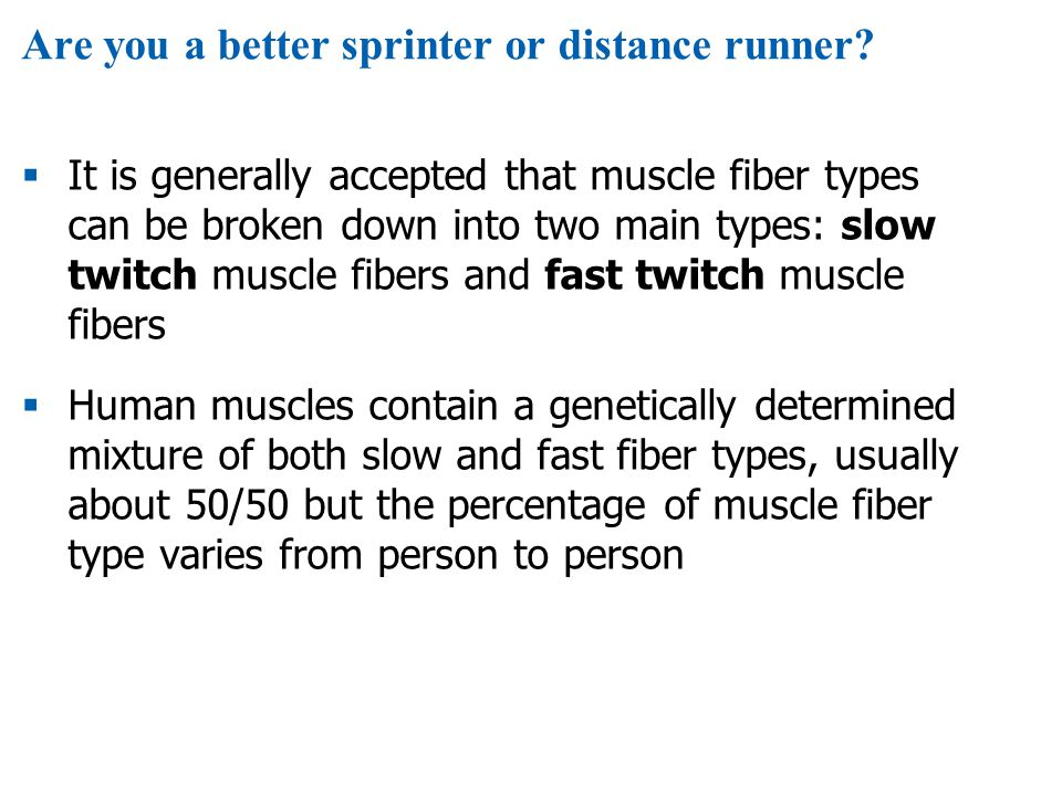Are you a better sprinter or distance runner?  It is generally accepted that muscle fiber types can be broken down into two main types: slow twitch m