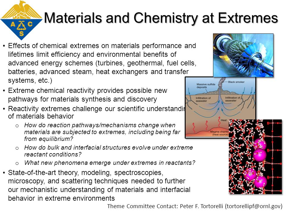 Materials and Chemistry at Extremes Effects of chemical extremes on materials performance and lifetimes limit efficiency and environmental benefits of advanced energy schemes (turbines, geothermal, fuel cells, batteries, advanced steam, heat exchangers and transfer systems, etc.) Extreme chemical reactivity provides possible new pathways for materials synthesis and discovery Reactivity extremes challenge our scientific understanding of materials behavior o How do reaction pathways/mechanisms change when materials are subjected to extremes, including being far from equilibrium.