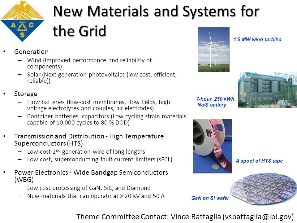 New Materials and Systems for the Grid Generation – Wind (Improved performance and reliabiltiy of components) – Solar (Next generation photovoltaics (