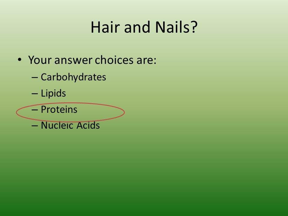 Hair and Nails? Your answer choices are: – Carbohydrates – Lipids – Proteins – Nucleic Acids