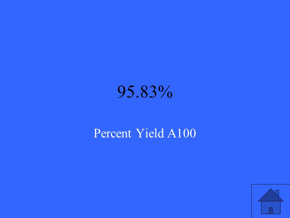 If the theoretical yield of a reaction is 62.3g and the actual yield is 59.7 grams, find the percent yield and round to two decimal places. Percent Yi