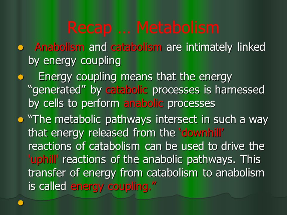 Recap … Metabolism Anabolism and catabolism are intimately linked by energy coupling Anabolism and catabolism are intimately linked by energy coupling Energy coupling means that the energy generated by catabolic processes is harnessed by cells to perform anabolic processes Energy coupling means that the energy generated by catabolic processes is harnessed by cells to perform anabolic processes The metabolic pathways intersect in such a way that energy released from the 'downhill' reactions of catabolism can be used to drive the uphill reactions of the anabolic pathways.