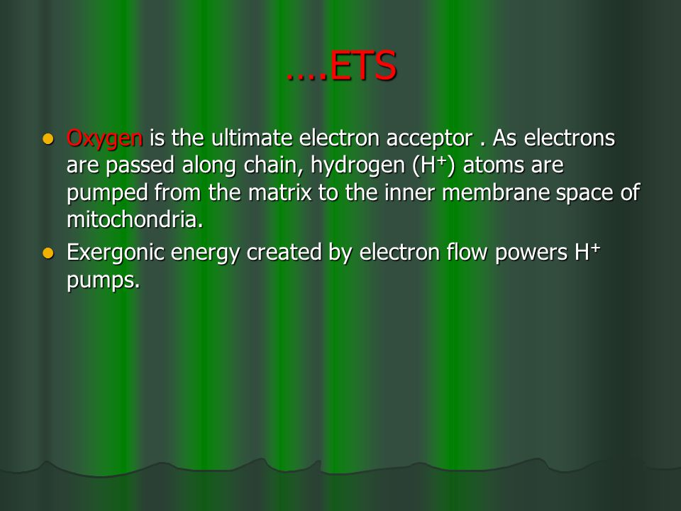 ….ETS Oxygen is the ultimate electron acceptor.