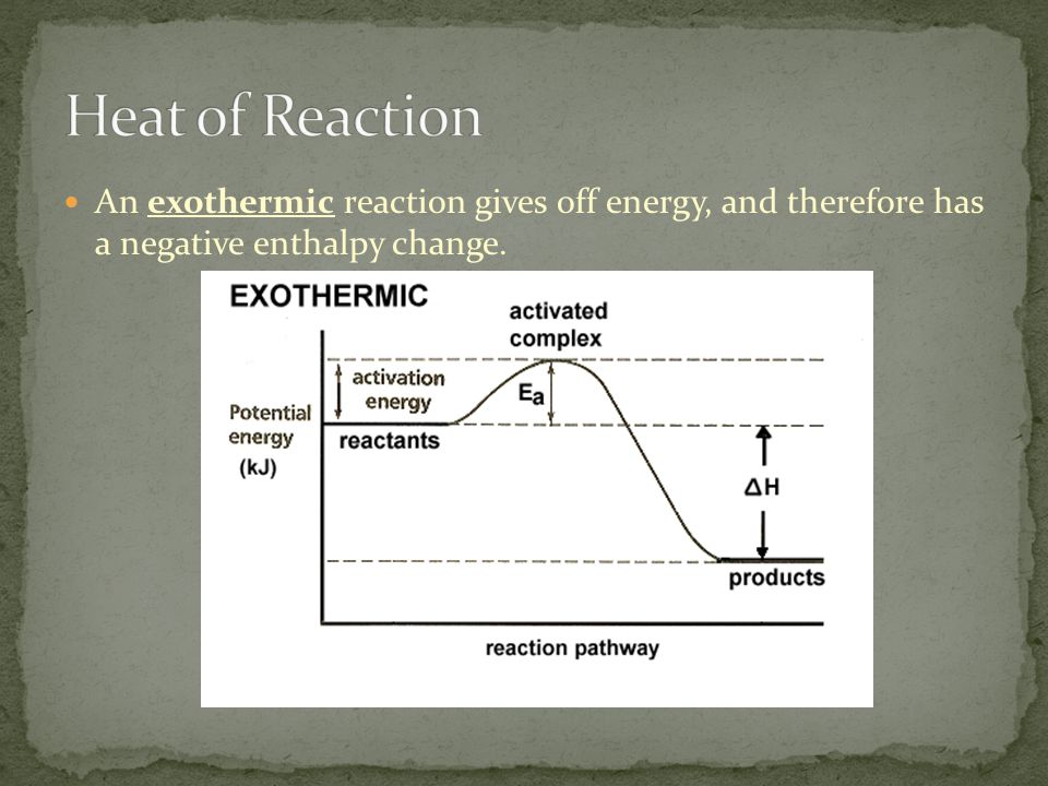 An exothermic reaction gives off energy, and therefore has a negative enthalpy change.