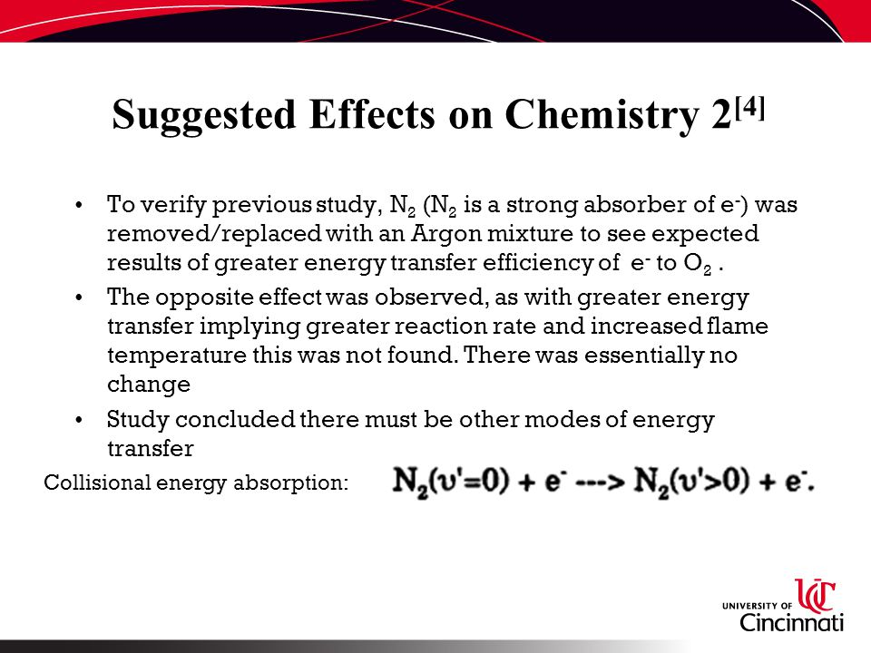 Suggested Effects on Chemistry 2 [4] To verify previous study, N 2 (N 2 is a strong absorber of e - ) was removed/replaced with an Argon mixture to see expected results of greater energy transfer efficiency of e - to O 2.