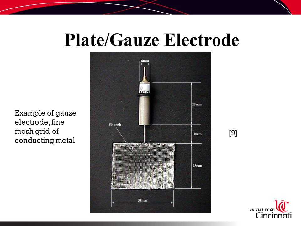Plate/Gauze Electrode [9] Example of gauze electrode; fine mesh grid of conducting metal