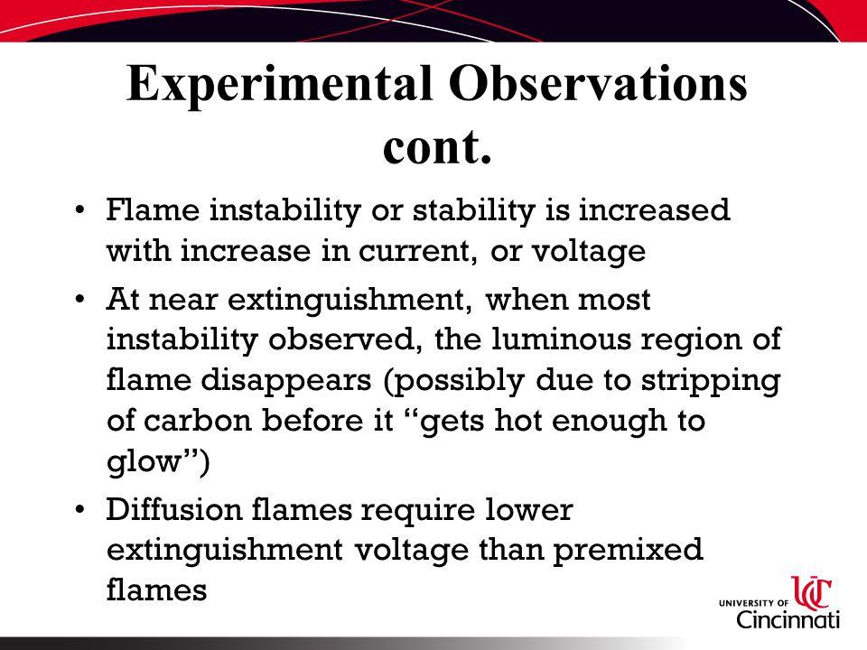 Experimental Observations cont.