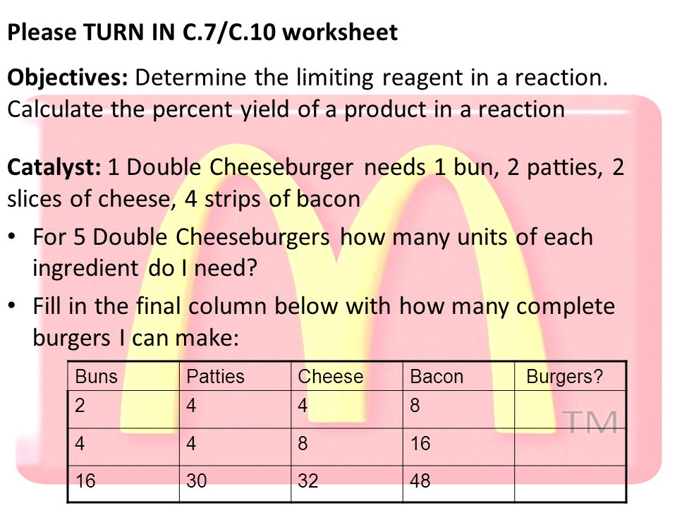 Please TURN IN C.7/C.10 worksheet Objectives: Determine the limiting reagent in a reaction.