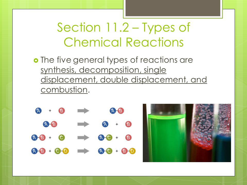 Section 11.2 – Types of Chemical Reactions  The five general types of reactions are synthesis, decomposition, single displacement, double displacemen