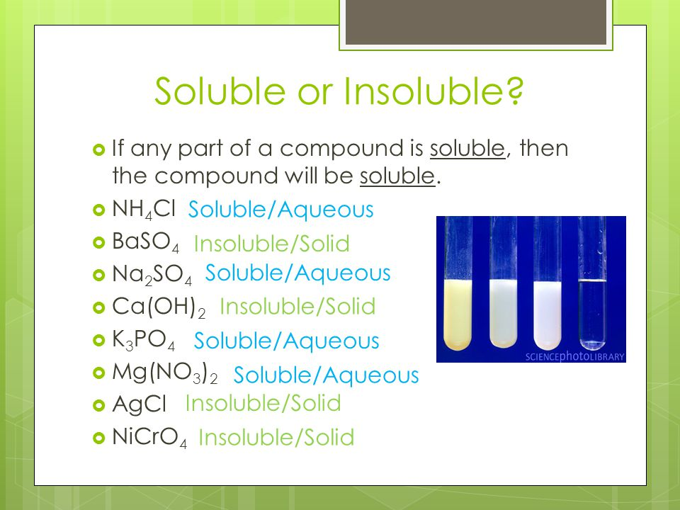 Soluble or Insoluble?  If any part of a compound is soluble, then the compound will be soluble.  NH 4 Cl  BaSO 4  Na 2 SO 4  Ca(OH) 2  K 3 PO 4