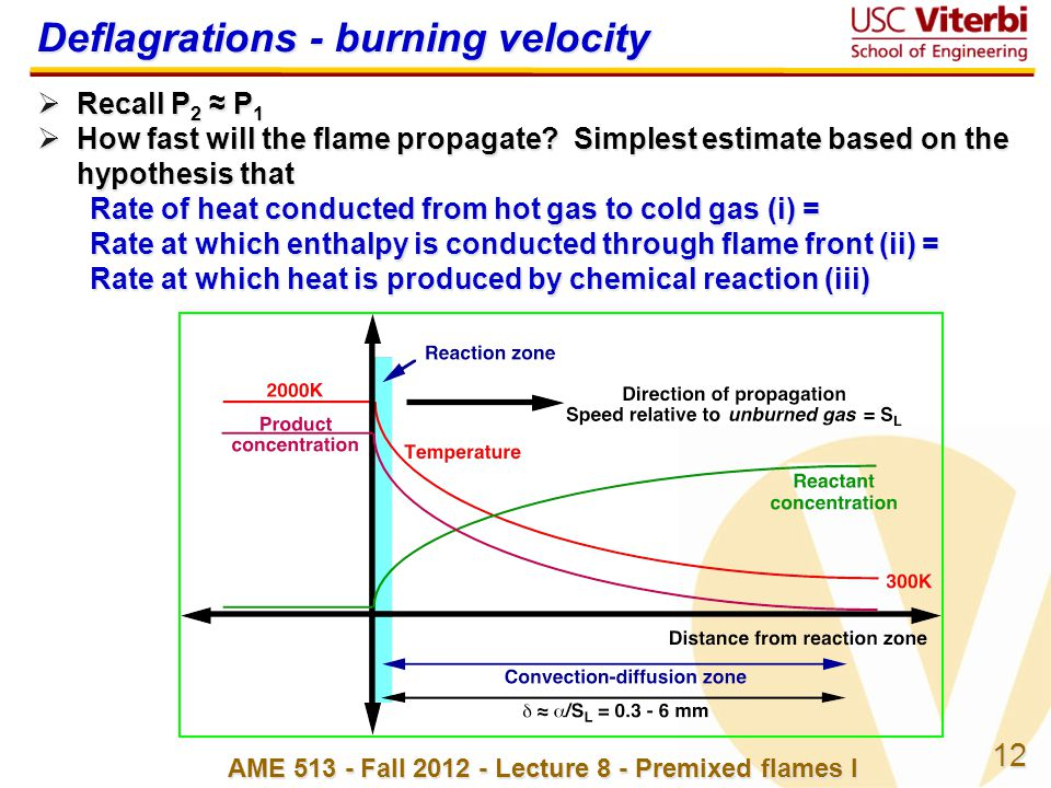 12 AME 513 - Fall 2012 - Lecture 8 - Premixed flames I Deflagrations - burning velocity  Recall P 2 ≈ P 1  How fast will the flame propagate.