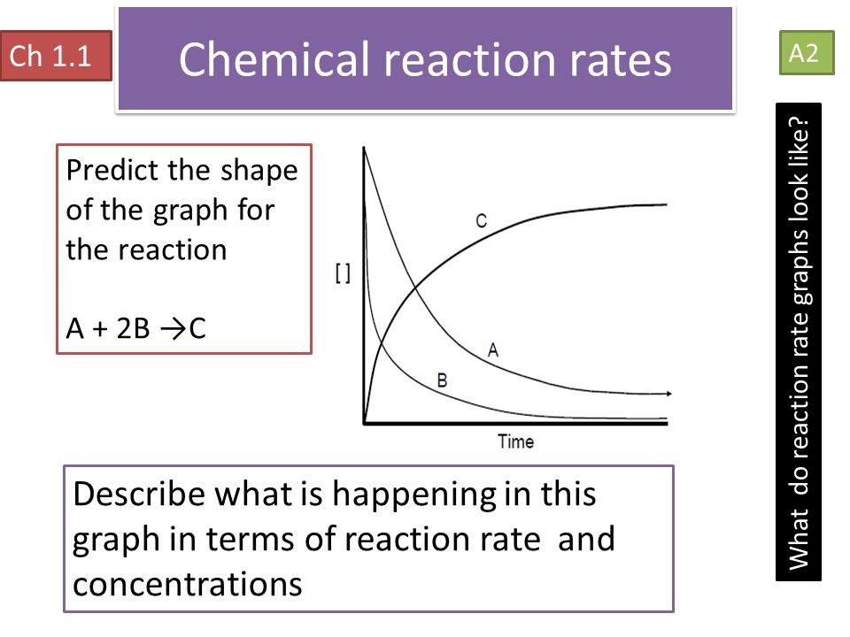 Chemical reaction rates Ch 1.1 A2 What do reaction rate graphs look like? Predict the shape of the graph for the reaction A + 2B →C Describe what is h