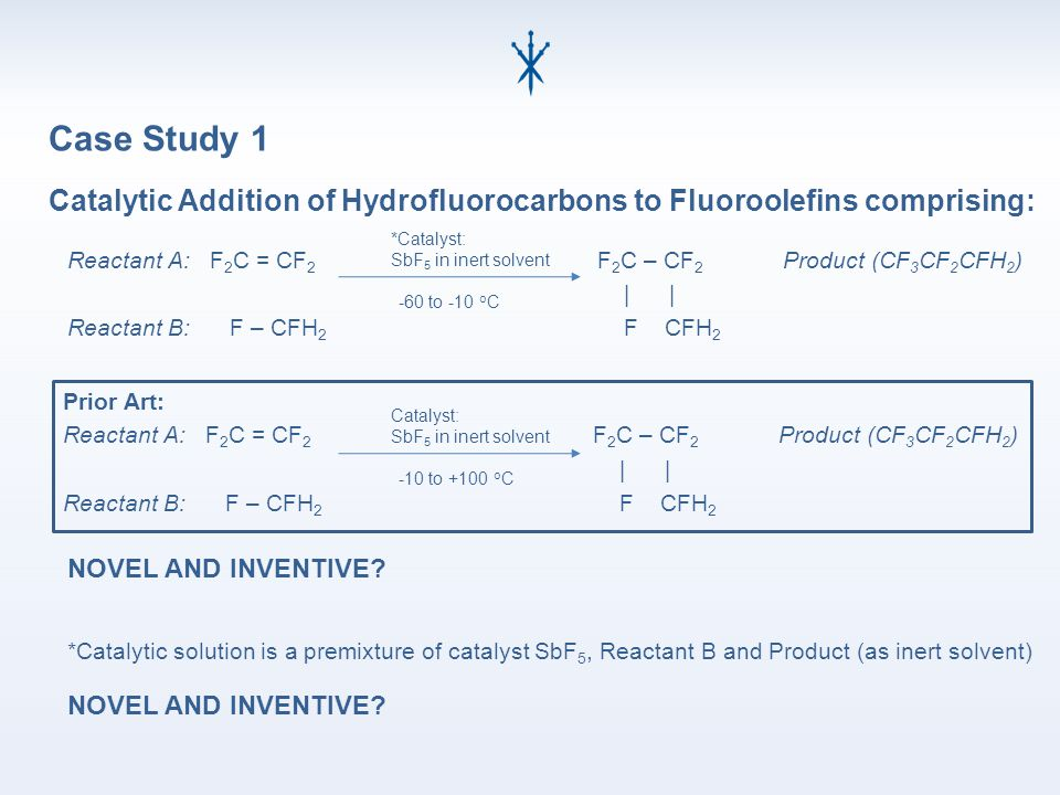 Catalytic Addition of Hydrofluorocarbons to Fluoroolefins comprising: Reactant A: F 2 C = CF 2 F 2 C – CF 2 Product (CF 3 CF 2 CFH 2 ) | | Reactant B: F – CFH 2 F CFH 2 *Catalyst: SbF 5 in inert solvent -60 to -10 o C *Catalytic solution is a premixture of catalyst SbF 5, Reactant B and Product (as inert solvent) NOVEL AND INVENTIVE.