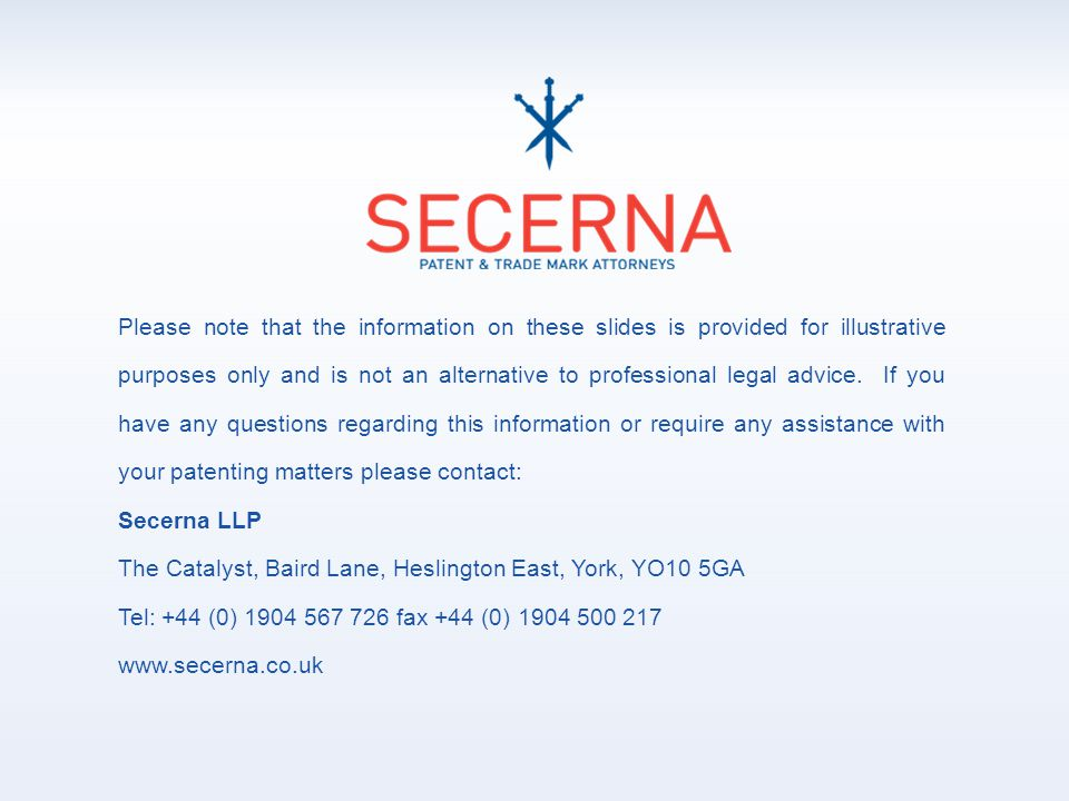 Please note that the information on these slides is provided for illustrative purposes only and is not an alternative to professional legal advice.