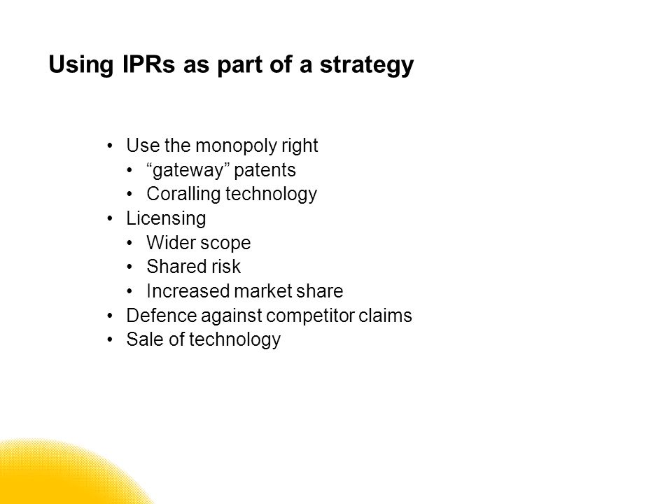 Legal issues Initial discussions under a NDA Make sure that patentable inventions are not shared or published before filing (must be considered new) If collaborating with another party: what IPRs are other parties bringing to the table.
