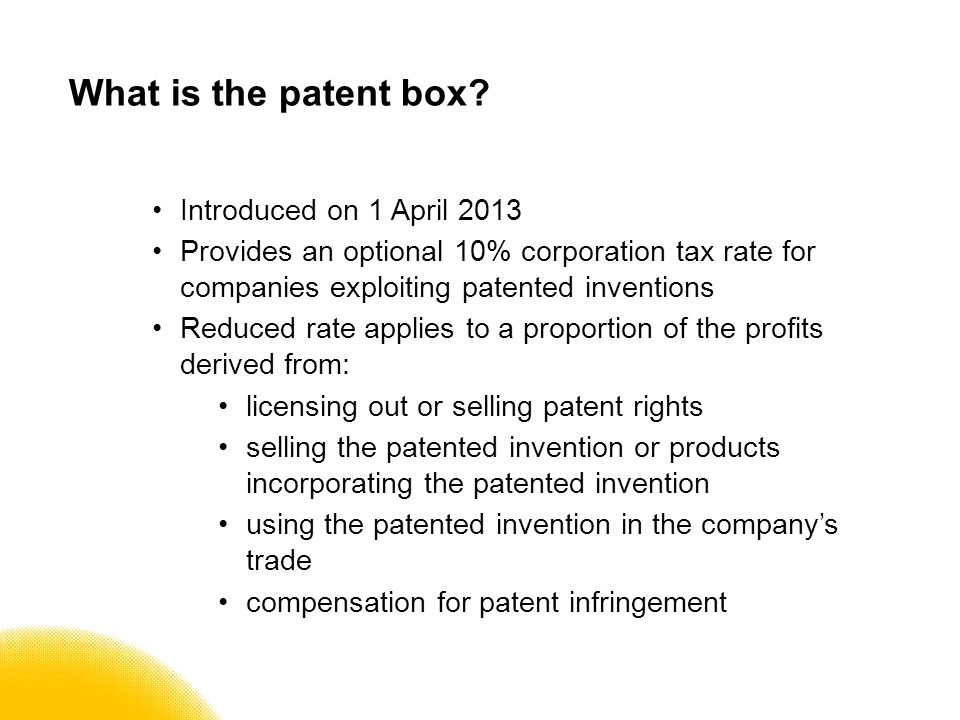 What is the patent box.