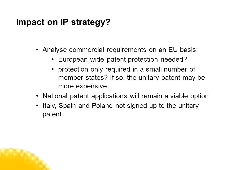 Impact on IP strategy.