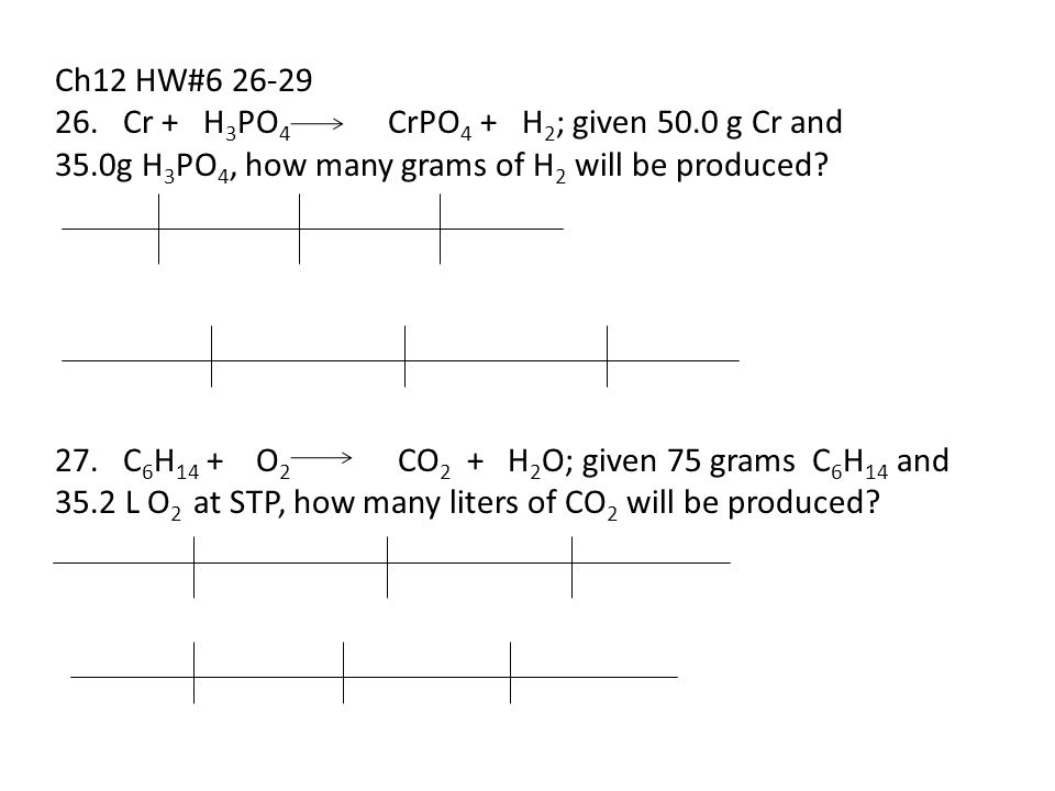 Ch12 HW#6 26-29 26. Cr + H 3 PO 4 CrPO 4 + H 2 ; given 50.0 g Cr and 35.0g H 3 PO 4, how many grams of H 2 will be produced? 27. C 6 H 14 + O 2 CO 2 +