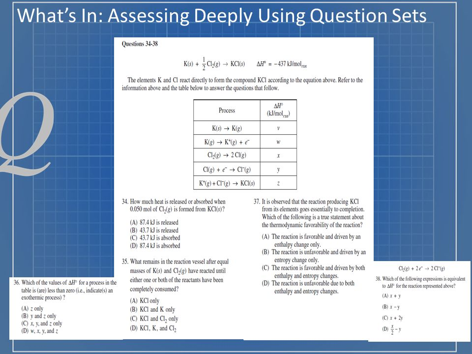 What's In: Assessing Deeply Using Question Sets