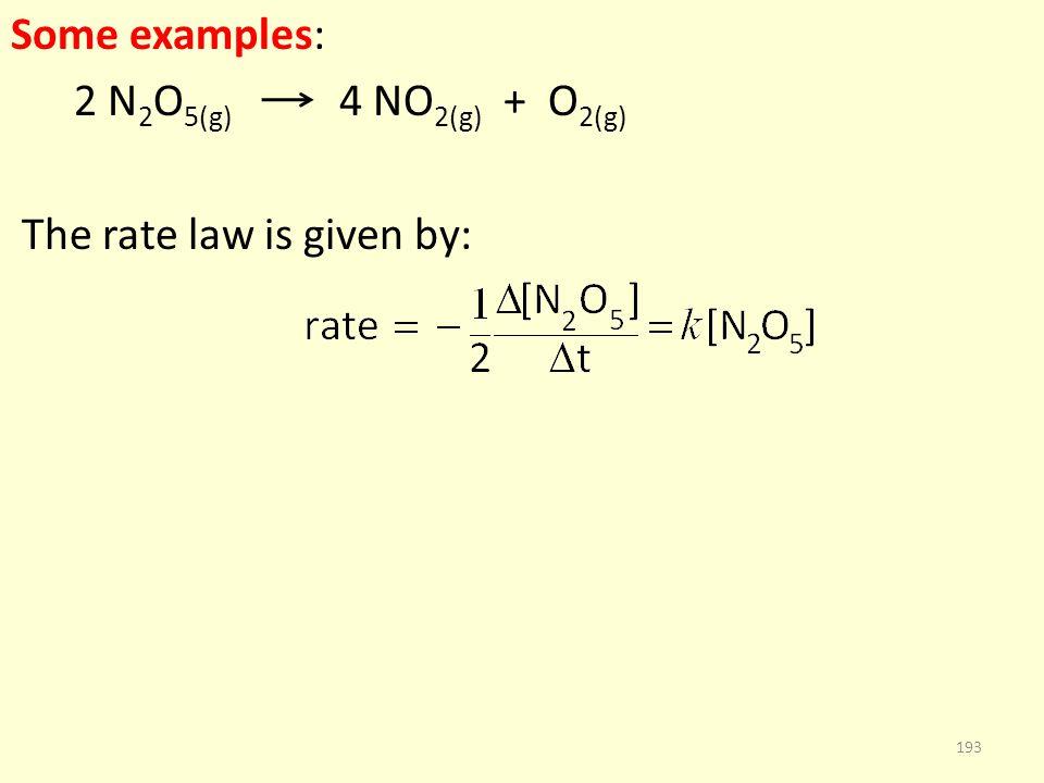 Some examples: 2 N 2 O 5(g) 4 NO 2(g) + O 2(g) The rate law is given by: 193