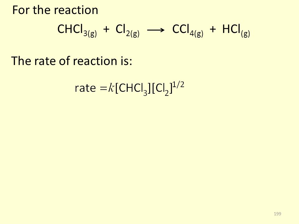 For the reaction CHCl 3(g) + Cl 2(g) CCl 4(g) + HCl (g) The rate of reaction is: 199