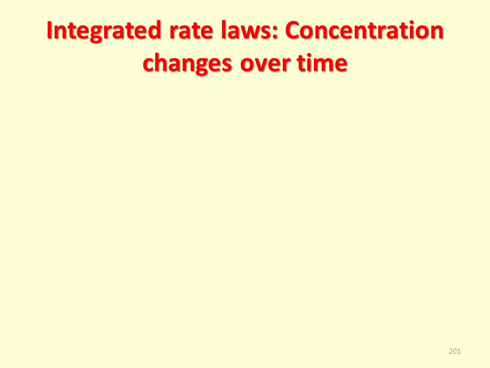 Integrated rate laws: Concentration changes over time 201