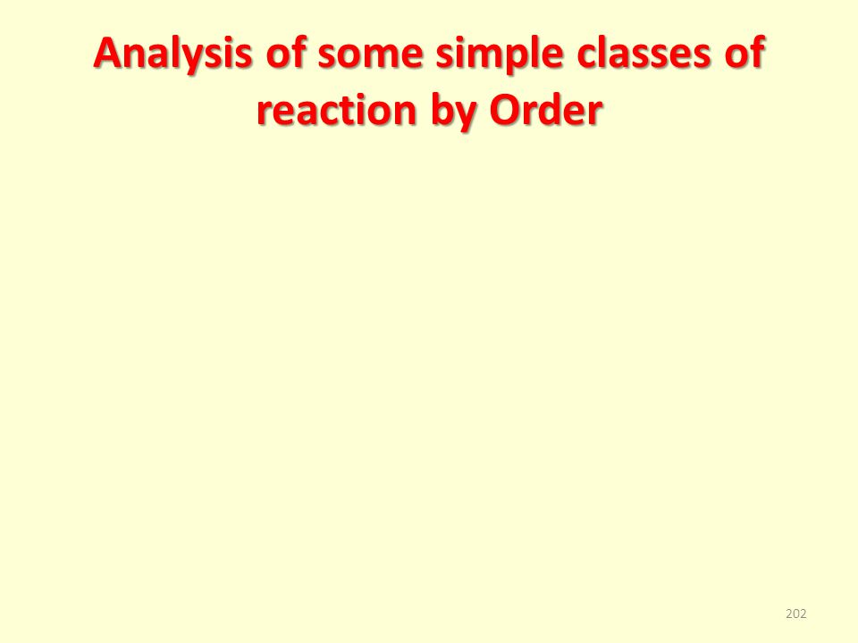 Analysis of some simple classes of reaction by Order 202