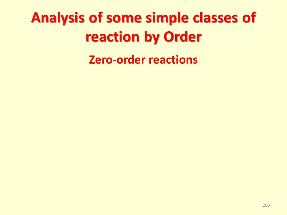 Analysis of some simple classes of reaction by Order Zero-order reactions 203