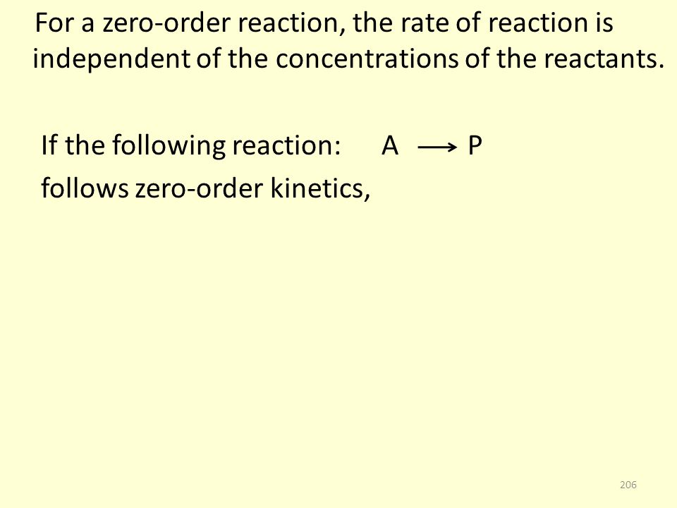 For a zero-order reaction, the rate of reaction is independent of the concentrations of the reactants.