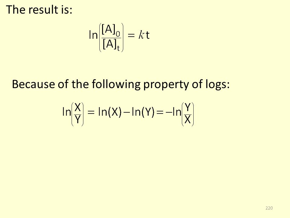 The result is: Because of the following property of logs: 220