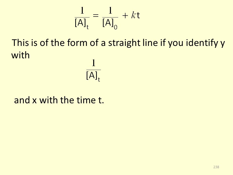 This is of the form of a straight line if you identify y with and x with the time t. 238