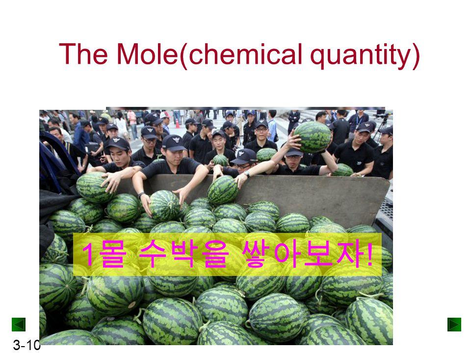3-10 The Mole(chemical quantity) 10 kg 수박 1 몰 수박을 쌓아보자 !