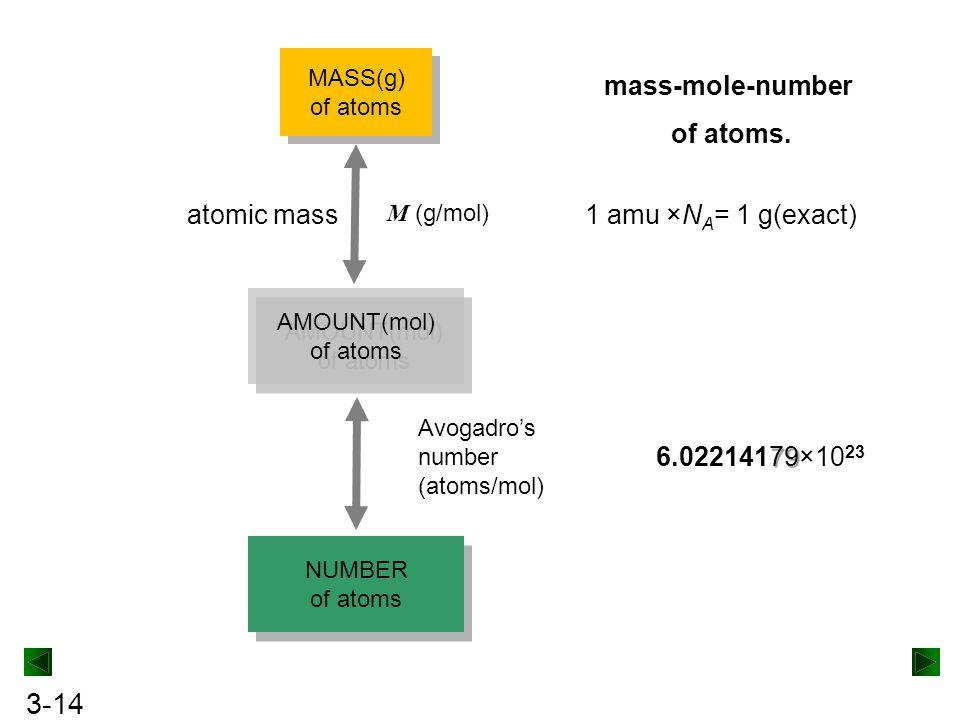 3-14 MASS(g) of atoms MASS(g) of atoms AMOUNT(mol) of atoms AMOUNT(mol) of atoms NUMBER of atoms NUMBER of atoms mass-mole-number of atoms. M (g/mol)