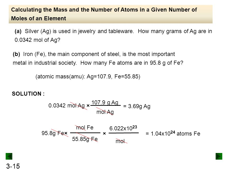 3-15 Calculating the Mass and the Number of Atoms in a Given Number of Moles of an Element SOLUTION : (a) Silver (Ag) is used in jewelry and tableware.