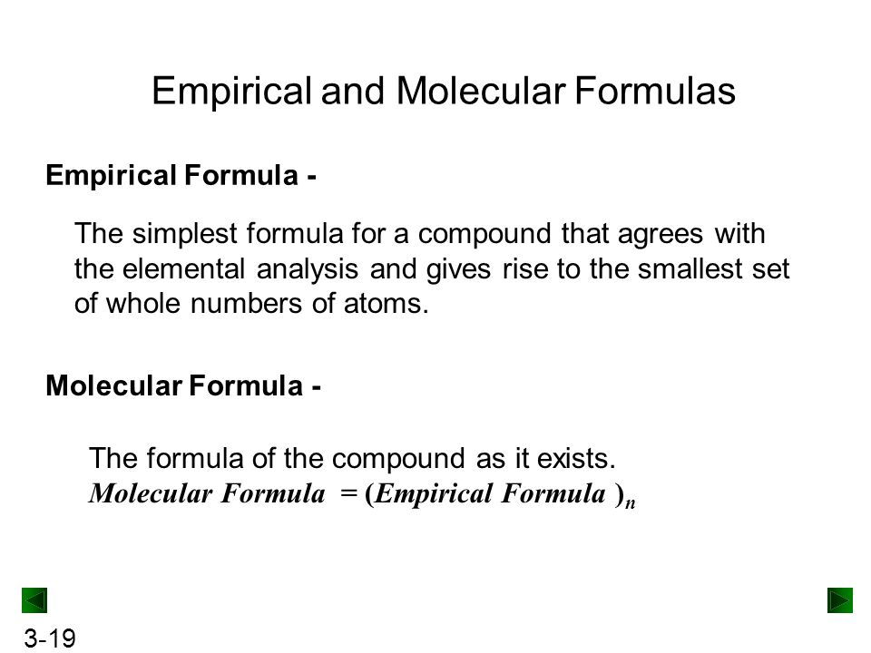 3-19 Empirical and Molecular Formulas Empirical Formula - The simplest formula for a compound that agrees with the elemental analysis and gives rise to the smallest set of whole numbers of atoms.