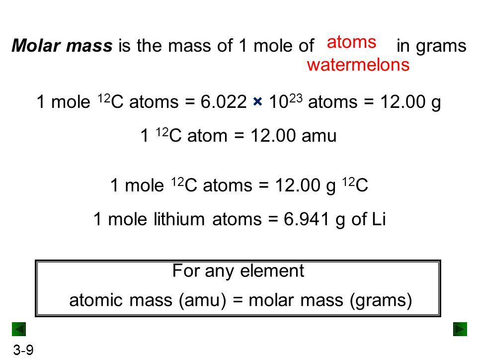 3-9 Molar mass is the mass of 1 mole of in grams atoms watermelons 1 mole 12 C atoms = 6.022 × 10 23 atoms = 12.00 g 1 12 C atom = 12.00 amu 1 mole 12 C atoms = 12.00 g 12 C 1 mole lithium atoms = 6.941 g of Li For any element atomic mass (amu) = molar mass (grams)