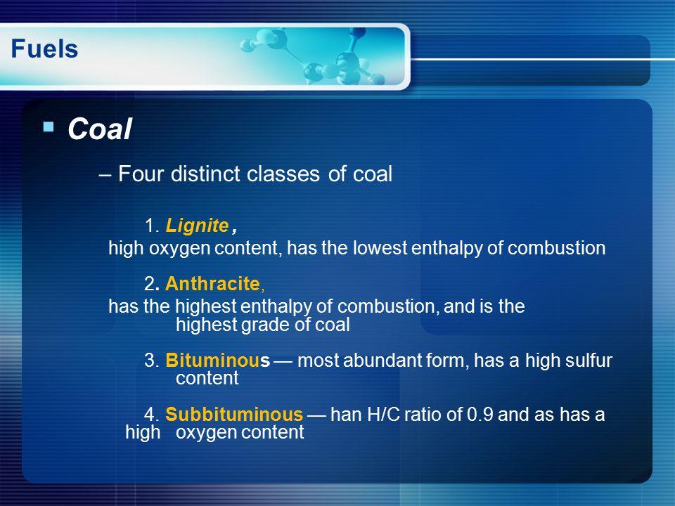  Coal – Four distinct classes of coal 1.
