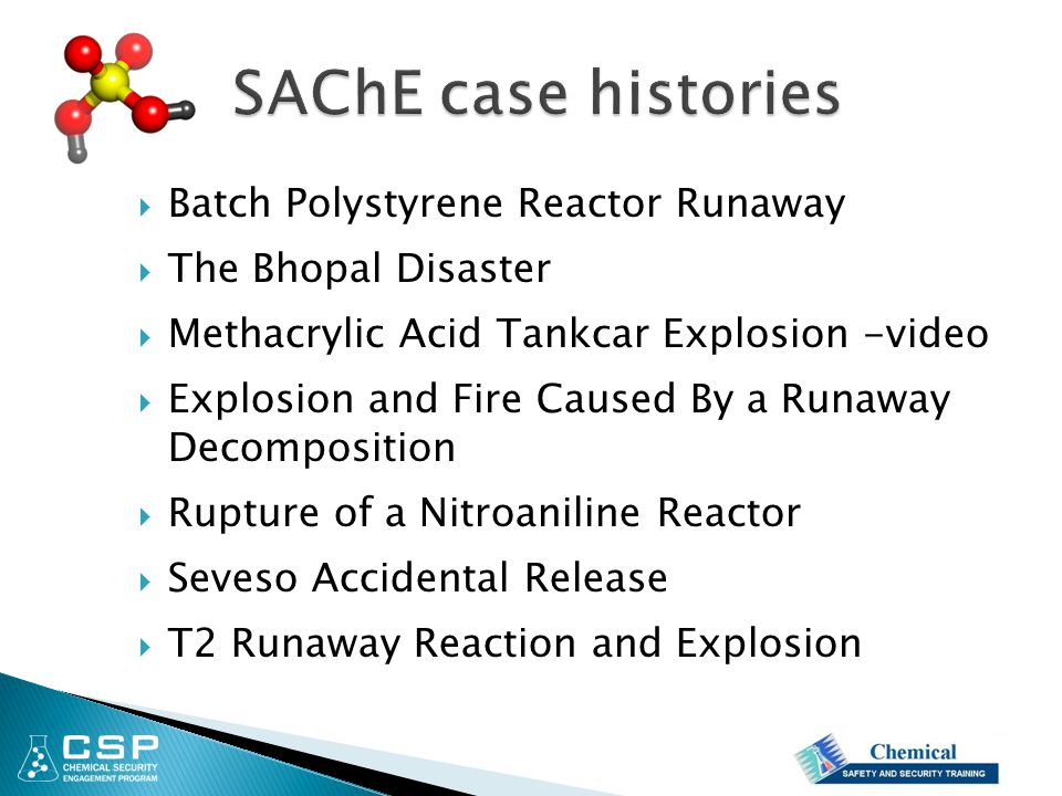  Batch Polystyrene Reactor Runaway  The Bhopal Disaster  Methacrylic Acid Tankcar Explosion -video  Explosion and Fire Caused By a Runaway Decompo