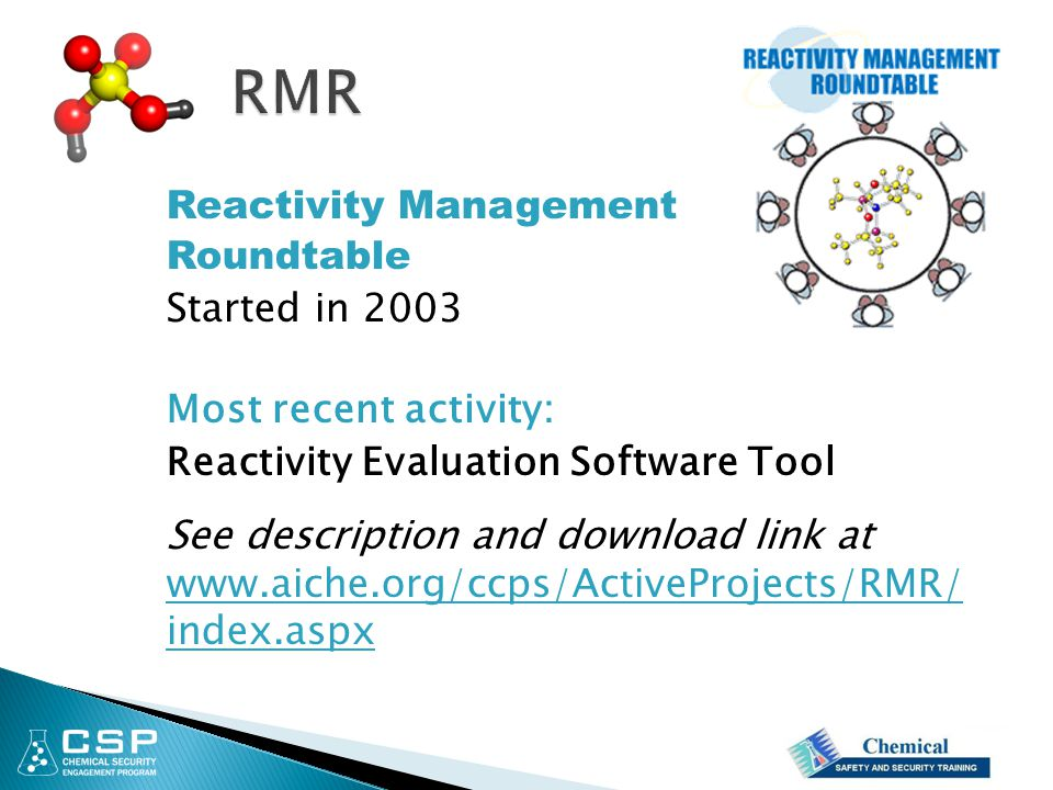 Reactivity Management Roundtable Started in 2003 Most recent activity: Reactivity Evaluation Software Tool See description and download link at www.ai
