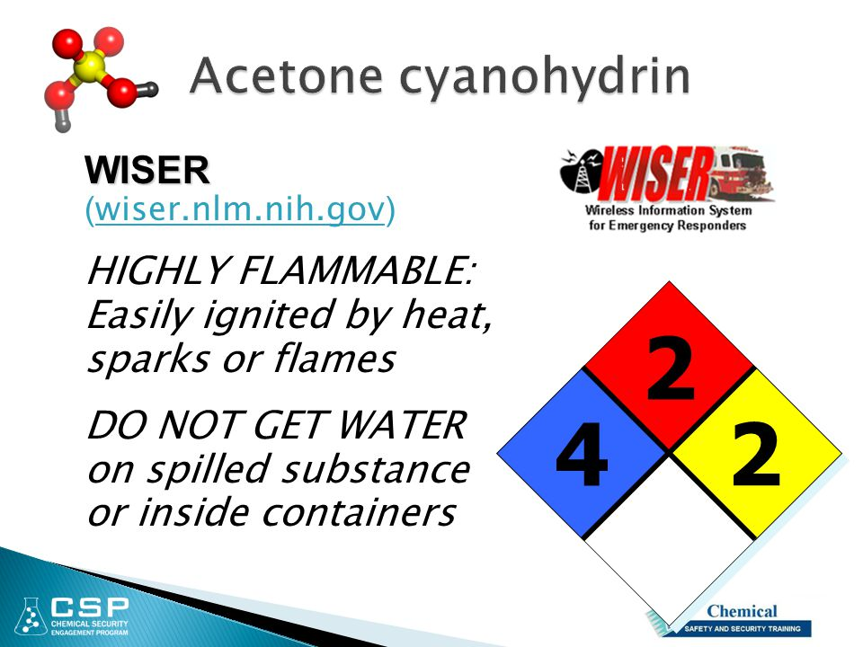 2 2 2 4 WISER WISER ( wiser.nlm.nih.gov ) HIGHLY FLAMMABLE: Easily ignited by heat, sparks or flames DO NOT GET WATER on spilled substance or inside c
